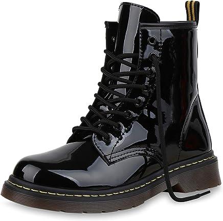 SCARPE VITA Damen Stiefeletten Worker Boots mit Blockabsatz Prints Profilsohle