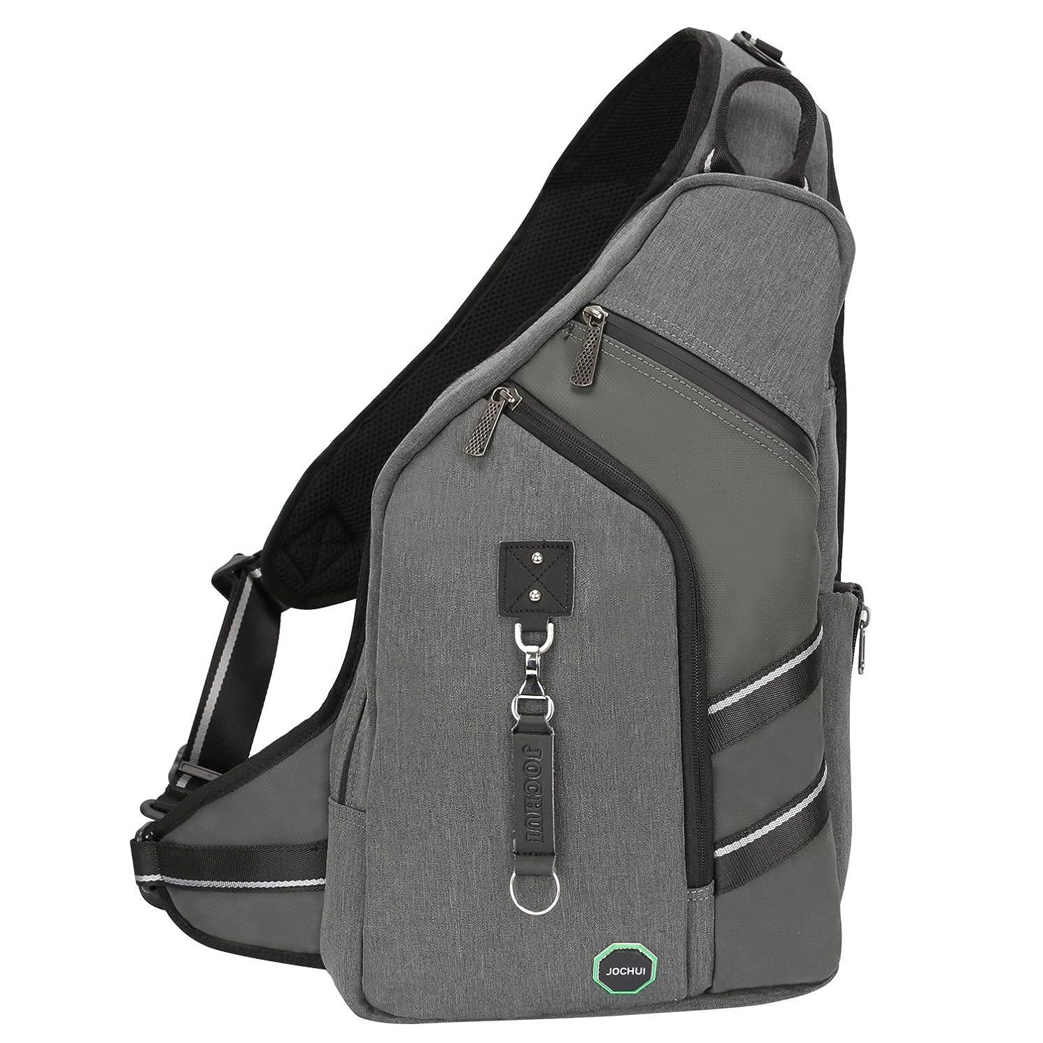 Sling Backpacks, JOCHUI Crossbody Bags for Men Women Sling Bags Purse Backpack for Travel Gym Cycling Hiking Gray