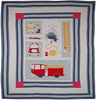 Patch Magic Twin Fire Truck Quilt, 65-Inch by 85-Inch