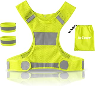 A2ZCARE Reflective Running Vest with Reflective Wristbands   High Visibility & Ultralight Safety Gear for Running, Walking, Cycling - Mesh Carry Bag