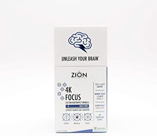 Zion 4K Focus Formula | Nootropic Brain Support Supplement - Lion's Mane, Rhodiola Rosea, Alpha GPC, Bacopa Monnieri - Improves Memory, Mental Clarity, Mood, and Stress (Box of 30)