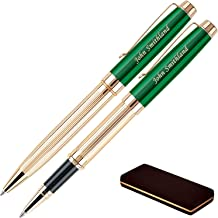 Personalized Braxton Ballpoint and Rollerball Pen Set - Green. Real 18krt Gold Plated Gift Set for a Man or Women, Custom Engraving is Included. Comes in Pen Case