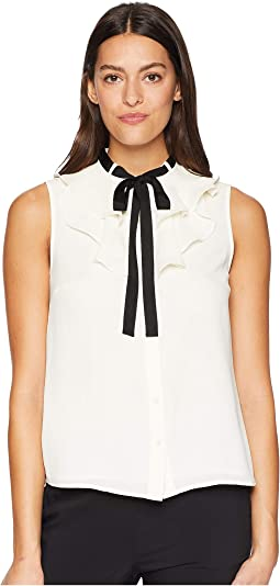 Sleeveless Ruffled Top w/ Tie