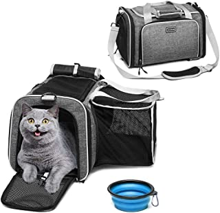 ACCOFASH Premium Airline Approved Expandable Pet Carrier-One Side Expansion Pet Travel Outdoor Backpack Carrier Foldable Bag-Designed for Cats, Dogs, Kittens,Puppies-Extra Spacious Soft Sided Carrier