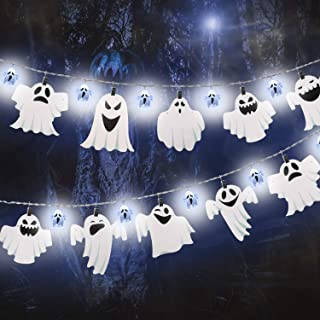 Halloween Lights,9.84ft 12 LEDs 3D White Ghost String Lights with 11 Pieces Ghost Cardboard Cutout and Clip Combination, Battery Operated String Lights for Halloween Outdoor Decoration