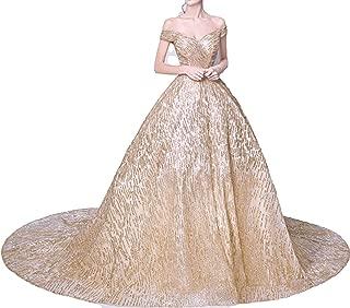 Boat Neck Gold Luxury Evening Dresses Floral Bling Sequined Fashion Designer Floor Length Dress LX29