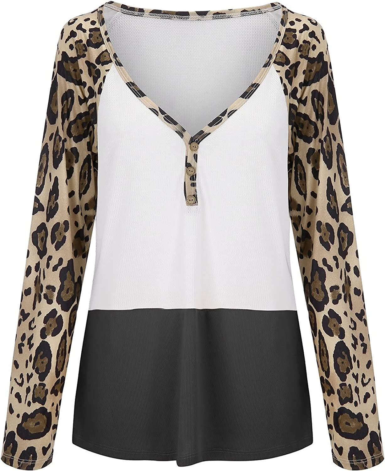 TIMIFIS Sexy V Neck Tunic Tops for Women Hollow Long Sleeve T-Shirts Off Shoulder Blouse Fashion Leopard Sweatshirt