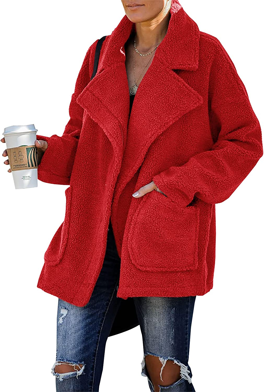 Womens Sherpa Fuzzy Fleece Sweatshirt Oversized Lapel Zip-up Cozy Pockets Jacket Coat
