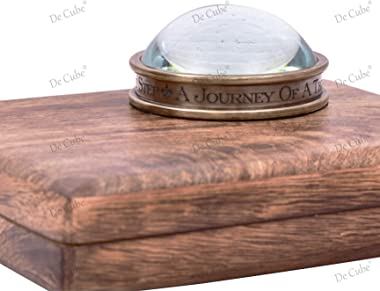 De Cube Brass Compass Desktop paperweight with free quote engraved A Journey of A Thousand Miles Begin with A Single Step