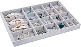 TekkPerry Stackable Velvet Jewelry Trays Organizer,Jewelry Trays for Drawers,Jewerly Drawer Organizers for Earring Necklace Bracelet Ring Display Storage (Gray-24 Grid Jewelry Tray X1)