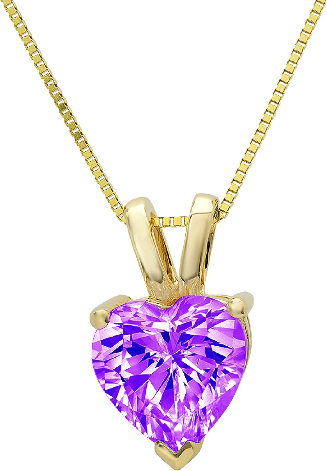 2.0 ct Brilliant Heart Cut Stunning Genuine Natural Purple Amethyst Ideal VVS1 D Solitaire Pendant Necklace With 16