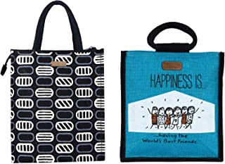 ECOTARA Elegant Eco-friendly Jute Lunch bag for Men & Women COMBO- Black & Blue