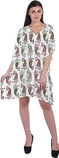 RADANYA Paisley Short Casual Cotton Kaftan Evening Summer Beach Dress Caftan for Women