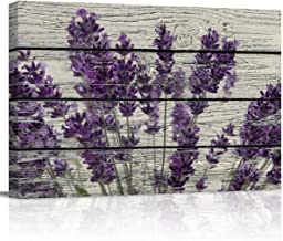 Canvas Print Wall Art - Purple Lavender Flowers on Vintage Wood Background - Wall Decor Modern Artwork Paintings Pictures for Living Room Stretched and Framed Ready to Hang - 12