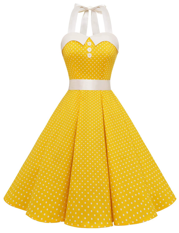 Available at Amazon: Dressystar Vintage Polka Dot Retro Cocktail Prom Dresses 50s 60s Rockabilly Bandage