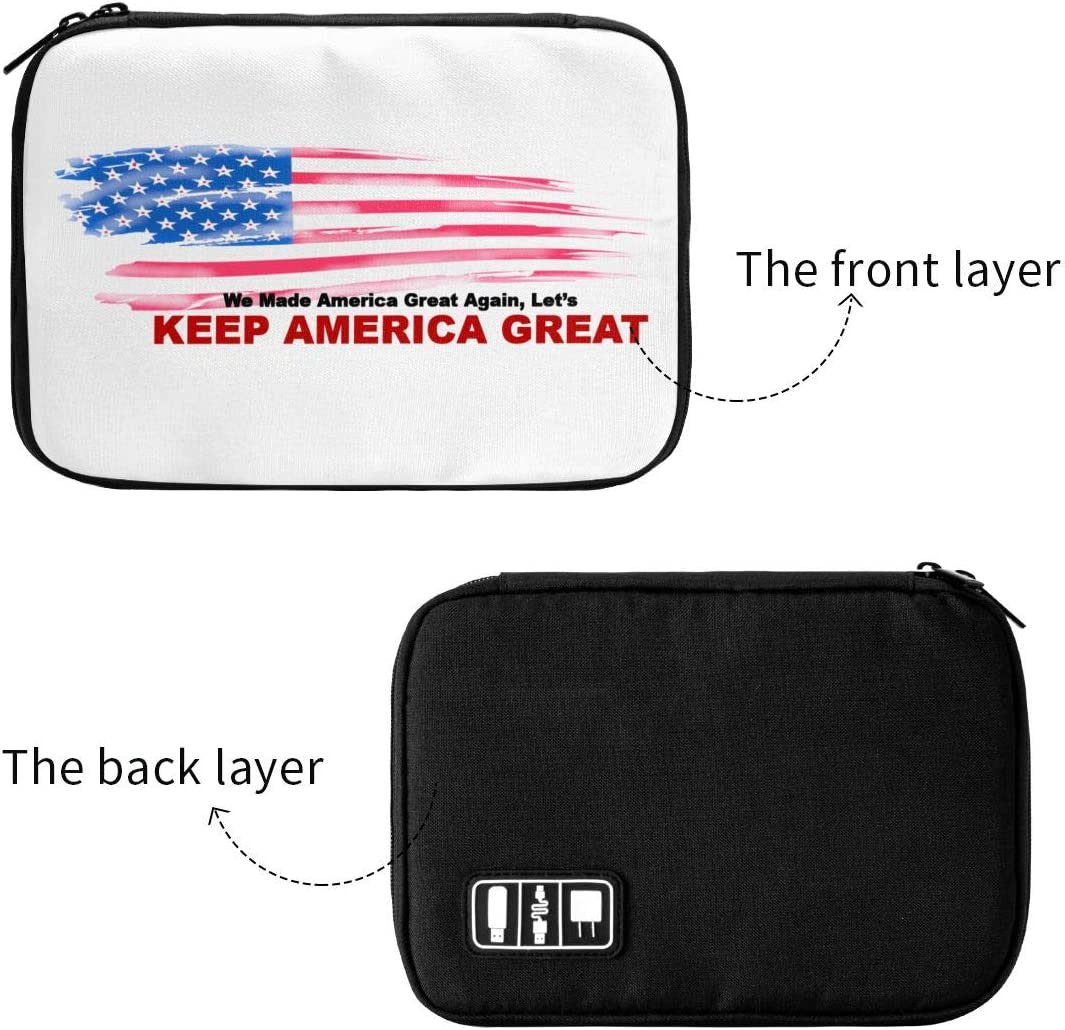 CVHFJYFT Donald Trump for President 2020 Keep America Great Multi-Function Data Line Storage Bag Electronics Accessories USB Cable Packet Portable