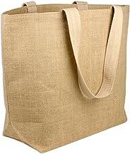 Large Eco-Friendly Jute Bag Burlap Beach Totes Laminated Interior (Pack of 6)