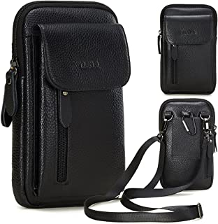 VIIGER Leather Man Purse Small Travel Crossbody Cell Phone Purse Bag Carrying Case Pouch Smartphone Holster Men Belt Pouch Mini Messenger Shoulder Wallet Compatible for iPhone 11 Pro Max/Xs Max/8 Plus
