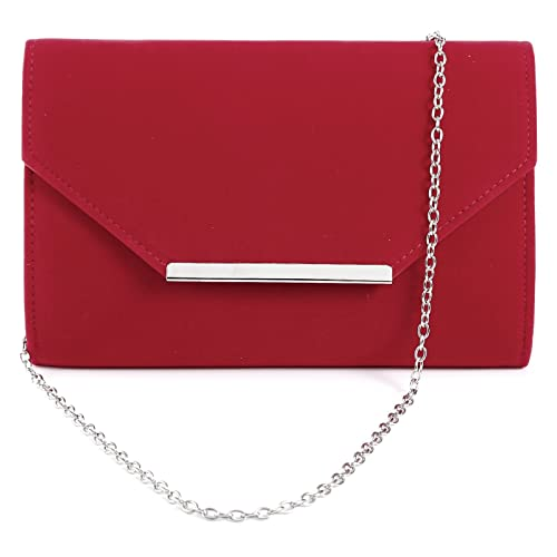 c09deff6e5503 Women Ladies Faux Suede Velvet Envelope Clutch Bag Shoulder Evening Prom  Handbag Silver Trim Purse with