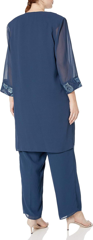 Le Bos Women's Plus Size Paisley Embroidered Trim Long Jacket Pant Set