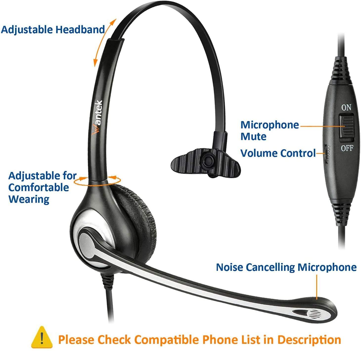 Auriculares Teléfono Fijo 2,5 mm Mono, Micrófono con Cancelación de Ruido, Quick Disconnect, WANTEK Cascos Teléfonos Inalámbricos DECT para Panasonic Gigaset Grandstream Philips(600QJ25): Amazon.es: Electrónica
