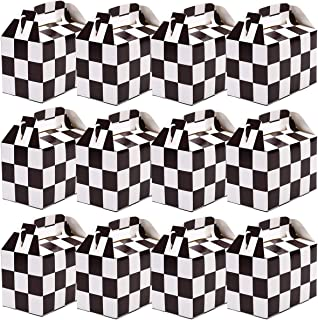 MeiMeiDa 36 Pieces Checkered Racing Car Treat Boxes Candy Boxes Goodie Gift Boxes Kids Race Car Hotwheel Theme Birthday Party Favors, Black and White, 5.91