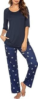 Ekouaer Pajamas Set Half Sleeve Top and Pants Set Sleepwear for Women with Pockets