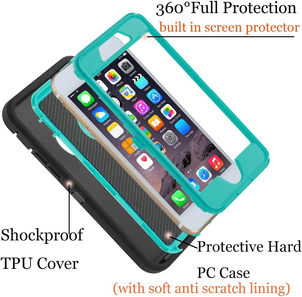 Co-Goldguard Case for iPhone 7 Heavy Duty iPhone 8 Cover Durable 3 in 1 Built-in Screen Protector Hard Cover Dust-Proof Shockproof Drop-Proof Shell (Black&Blue)