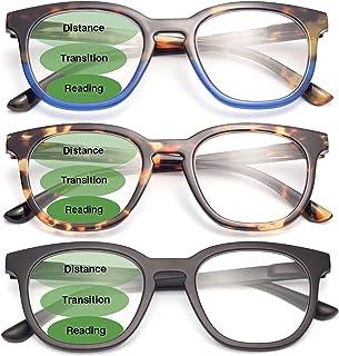 LianSan 3 Pairs Big Frame Progressive/Bifocal Reading Glasses Blue Light Filter Computer Multifocus Readers for Men and Women