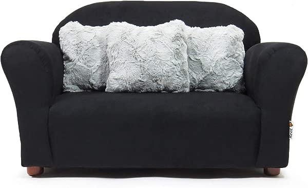 基特毛绒儿童沙发与口音枕头黑色和灰色
