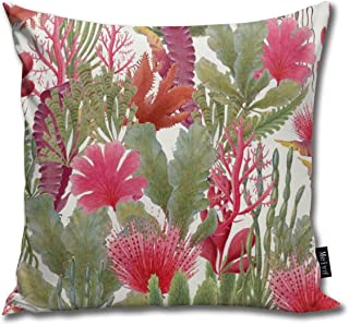 Lalae-ltd British Seaweed Botanical Illustrations Throw Pillow Cases Cushion Cover Pillow Custom Zippered Square Pillowcase 18 x 18 Inches