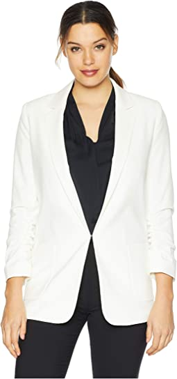 Bi-Stretch Open Jacket with Ruched Sleeve