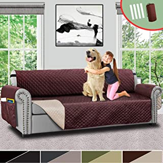 Vailge Oversize Reversible Sofa Cover,Extra Large Sofa Slipcover with Strap,Pocket,Extra Width Up to 78 Inches,Furniture Protector Machine Washable,Couch Covers for Dog(Oversize Sofa:Chocolate/Beige)