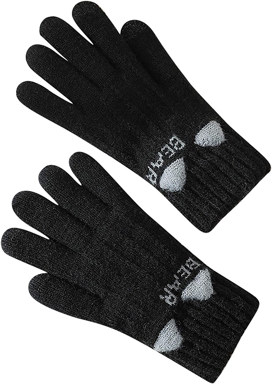Women's Cute Animal Knit Gloves Winter Full Finger Mitten Touchscreen Gloves Cold-Weather Street Wear Accessories Black