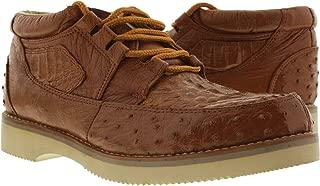 EL PRESIDENTE - Men's Cognac All Real Crocodile & Ostrich Skin Cowboy Sneakers