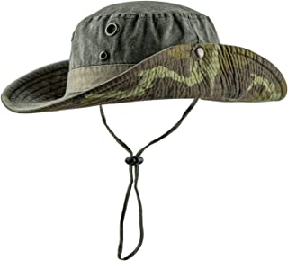 HH HOFNEN Fishing Sun Boonie Hat Wide Brim Breathable Washed Cotton Outdoor Hunting Safari Bucket Hat for Men Women