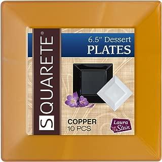 Squarete 6.5'' inch Copper Square Party Plates Dessert Plates Hard Plastic Elegant Disposable 10 Dessert Plates Per Package Pack Of 1