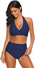 luvamia Women's Halter Self Tie Ruched High Waist Two Piece Bikini Set Swimsuits