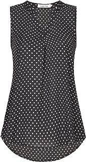 Lyking Women's Henley V Neck Sleeveless Curved Hem Chiffon Blouse Shirts Tank Tops