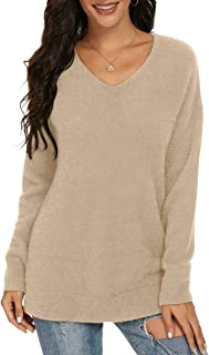 Sponsored Ad - QIXING Women's Casual V-Neck Long Sleeves Side Split Loose Fit Fuzzy Knit Pullover Sweater Tops