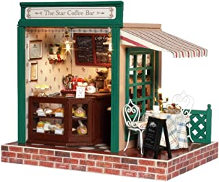 Flever Dollhouse Miniature DIY House Kit Creative Room with Furniture, Dust Cover and Music Movement for Romantic Craft Gift-Stars' Cafe Bar