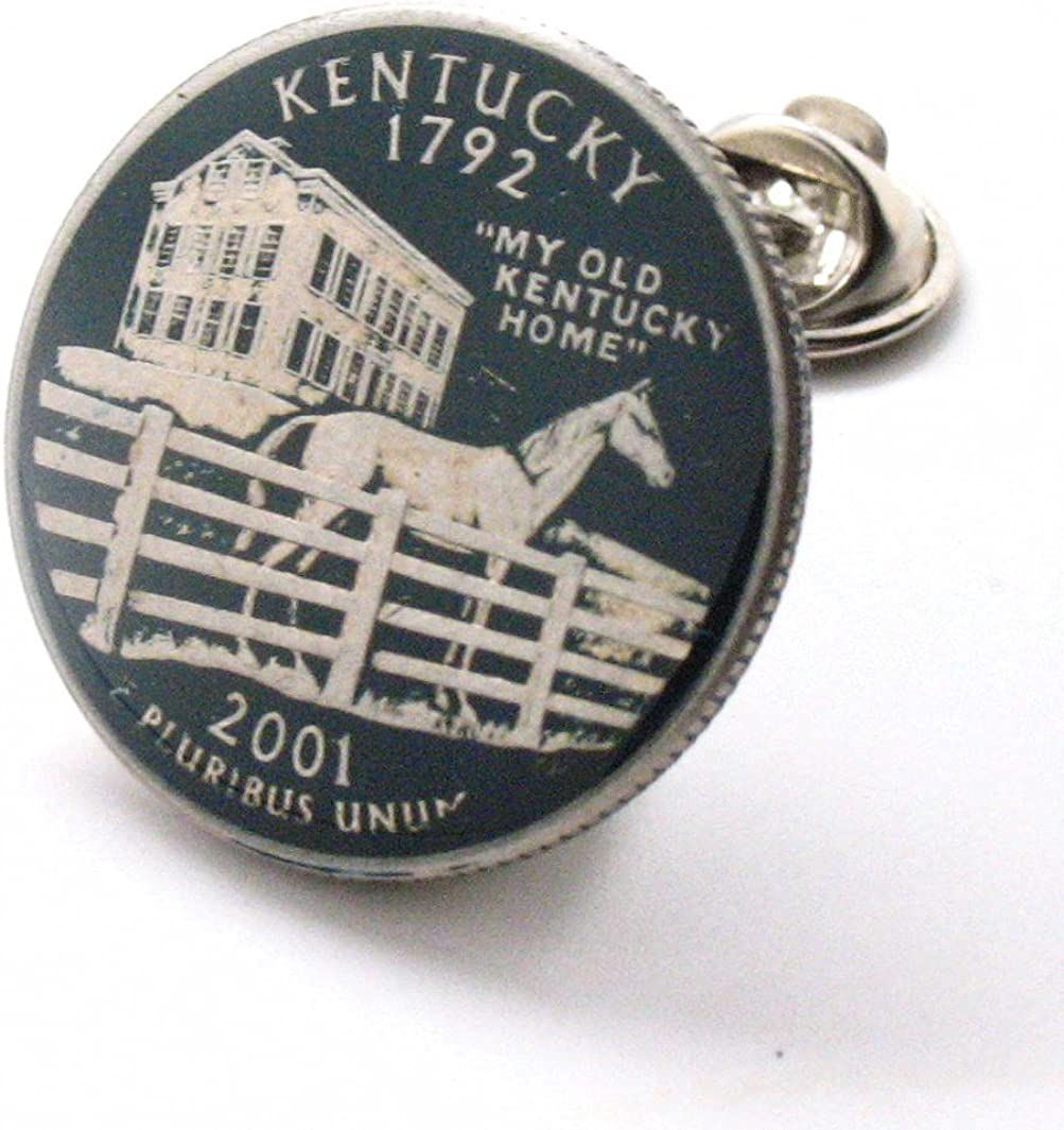 Chicago Mall Kentucky Quarter Tie Tack Max 68% OFF Lapel Pin Jewelry Coin Flag State Suit