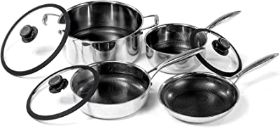 Black Cube Hybrid Stainless/Nonstick Cookware 7 Piece Set