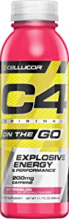 Cellucor C4 On The Go Zero Sugar Pre Workout Drink, Energy Drink + Beta Alanine, Watermelon, 11.7 Fl Oz (Pack of 12)