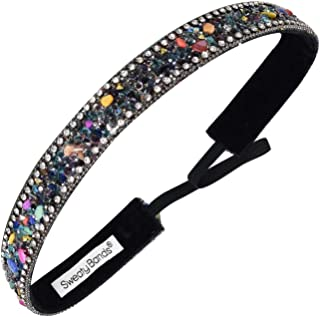 Sweaty Bands Womens Girls Headband - Non-Slip, Velvet-Lined Fashion Hairband - Bling It Rock My World Black 7/8-Inch