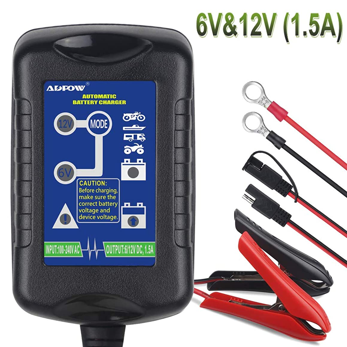 ADPOW Car Battery Charger 6V 12V 1.5A Trickle Battery Charger Automatic Maintainer 6V&12V 4-Step Power Battery Charging for Auto Car Motorcycle Lawn Mower SLA ATV AGM GEL CELL Lead Acid Batteries