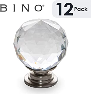 BINO 12-Pack Crystal Cabinet Knobs Drawer Pull Handles - 1.25