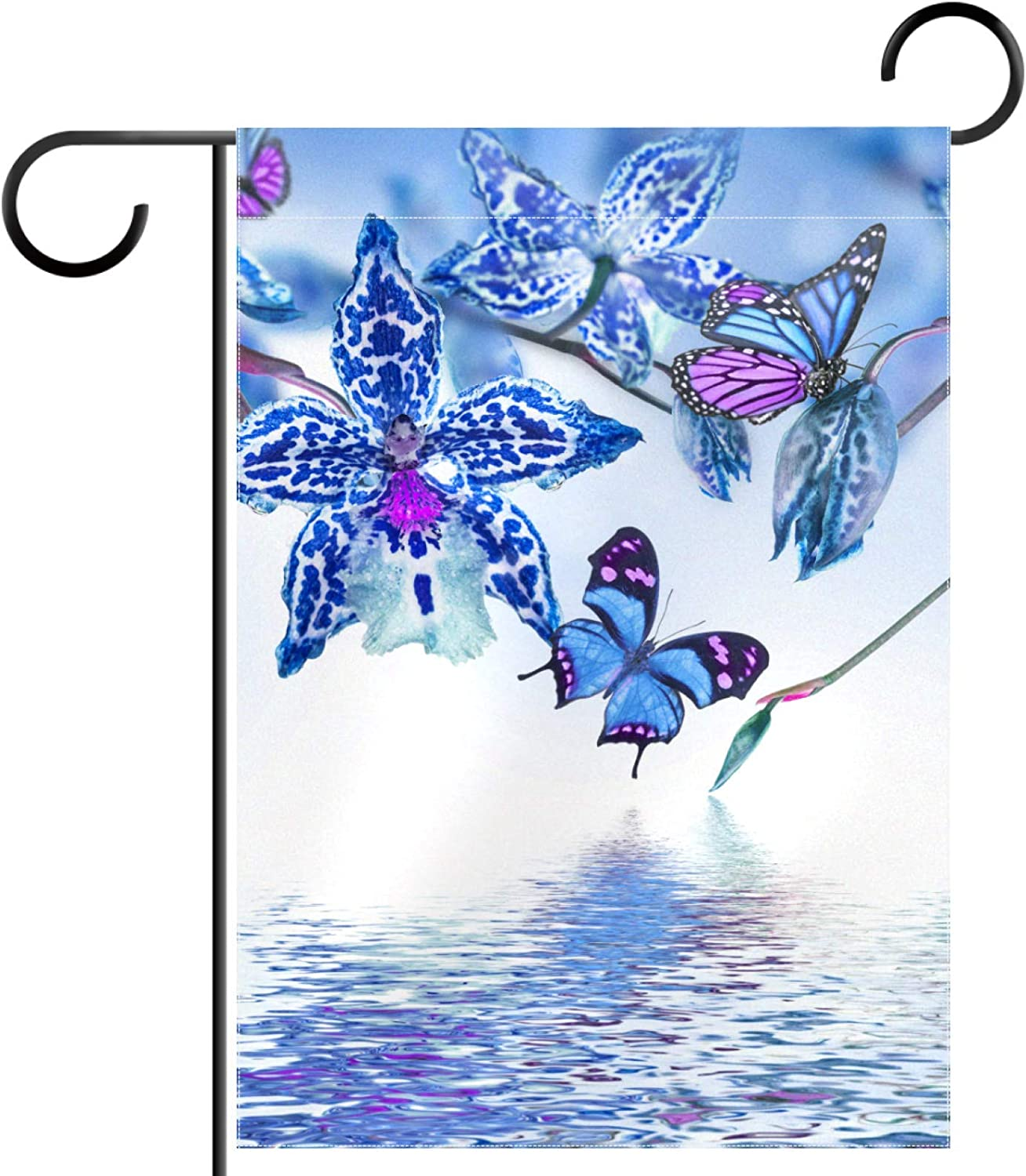 huiyueqiche Tropical Orchids Butterfly Garden Inch Max 44% OFF Flag 12 100% quality warranty x 18