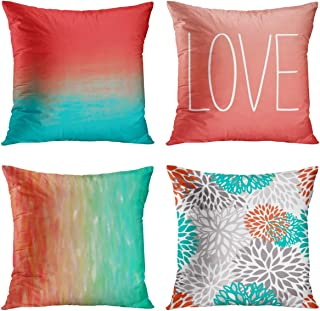 Britimes Throw Pillow Covers 18x18 Home Decor Outdoor Set of 4 Pillow Cases Decorative for Bed Sofa Cushion Couch Pillowcases Green Red Painting Love Flower