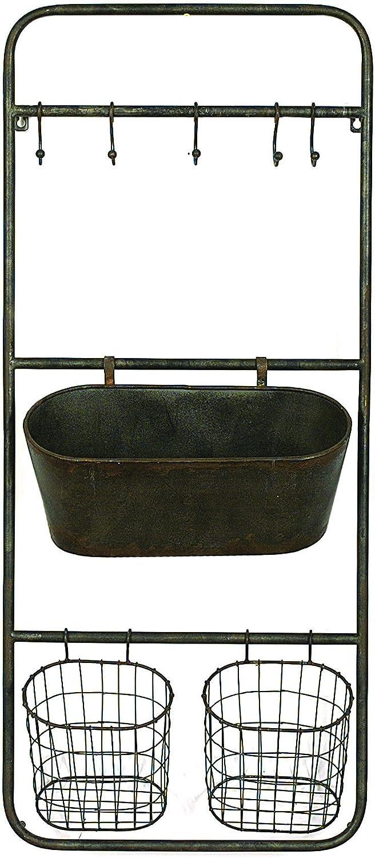 Creative Co-op DA3827 Metal Wall Rack with 5 Hooks & 3 Baskets Hanging Organizer, Grey